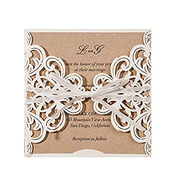 JOFANZA White Laser Cut Wedding Invitations Cards With Ribbon Bow Lace Sleeve Invite For Engagement