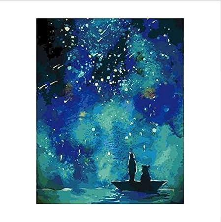 HLLCY Peinture par Nombres Belle Ciel Étoilé Univers Galaxie Aurora Nuit  Abstraite Acrylique pour La Décoration Intérieure 40X50Cm: Amazon.fr:  Cuisine & Maison
