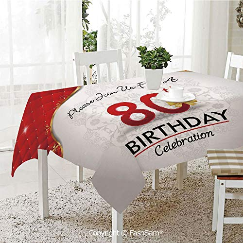 (FashSam 3D Dinner Print Tablecloths Birthday Party Invitation with Abstract Flora Backdrop Tablecloth Rectangle Table Cover for Kitchen(W60)