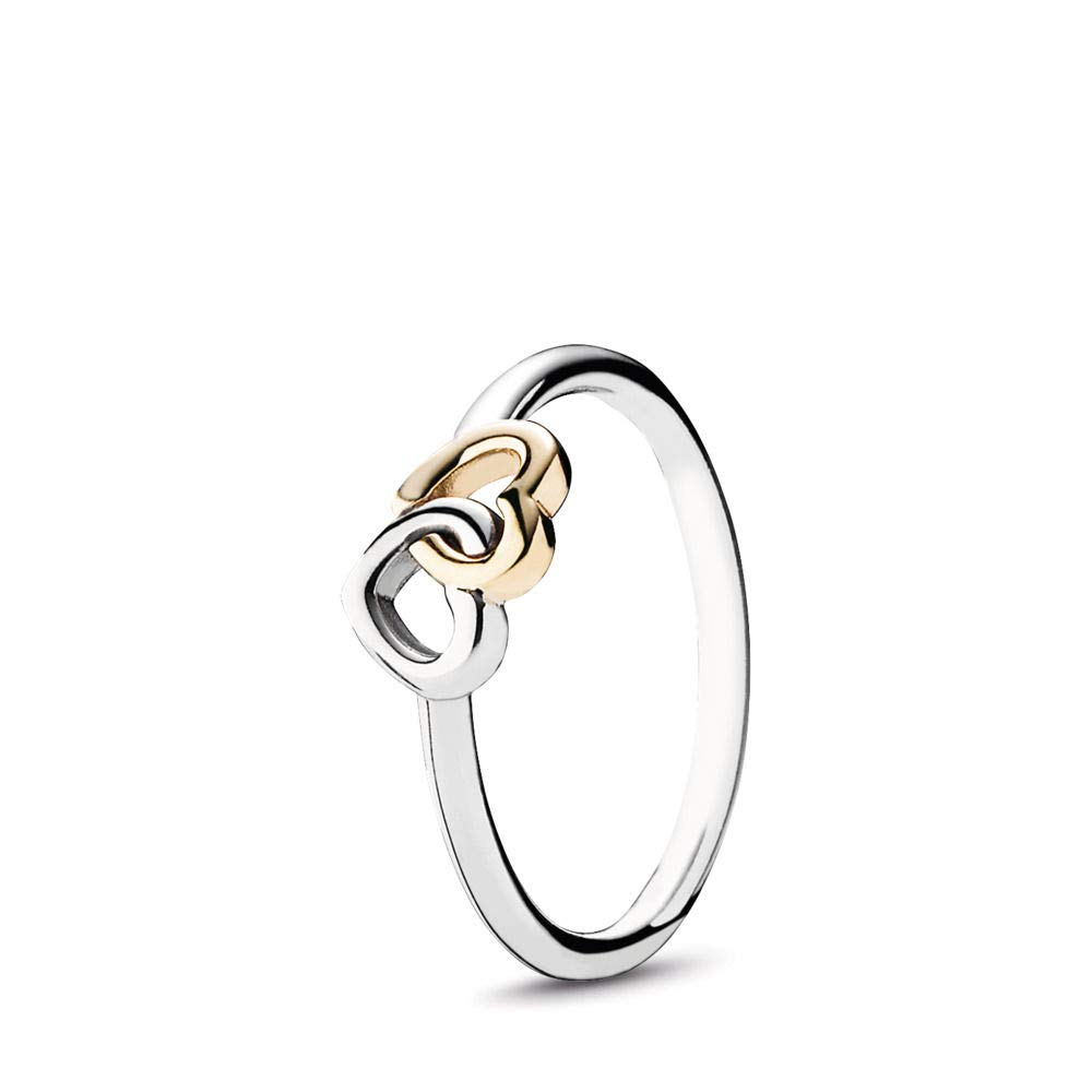PANDORA Heart To Heart Ring, Two Tone - Sterling Silver and 14K Yellow Gold, Size 7 by PANDORA