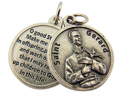 L&M Silver Toned Base Catholic Patron Saint Gerard Medal with Prayer Back, 3/4 Inch ()