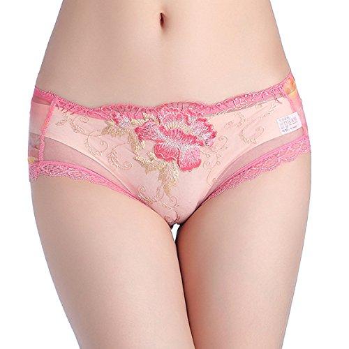 Rose Del Bordado De Encaje Transparente Gusto Bajas De Las Señoras De La Cintura De La Ropa Interior Del Triángulo 3Pack Pink1