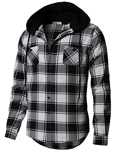 (H2H Men's Casual Plaid Long Sleeve Button Down Shirt Hooded Shirts Black US L/Asia XL)