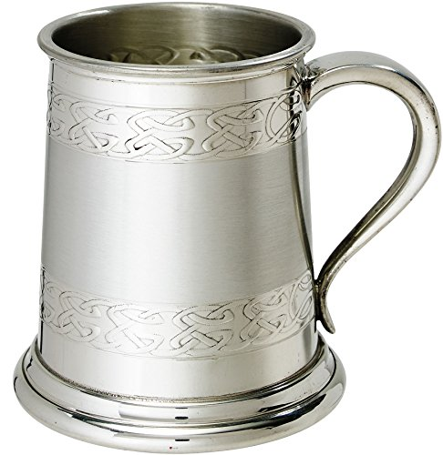 Embossed Tankard Celtic Bands 1pt Fine English Pewter Tankard