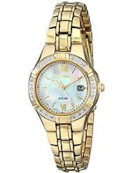 Seiko Womens SUT070 Solar-Power Gold-Tone Bracelet Watch with Diamonds
