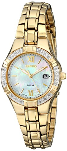 (Seiko Women's SUT070 Solar-Power Gold-Tone Bracelet Watch with Diamonds)