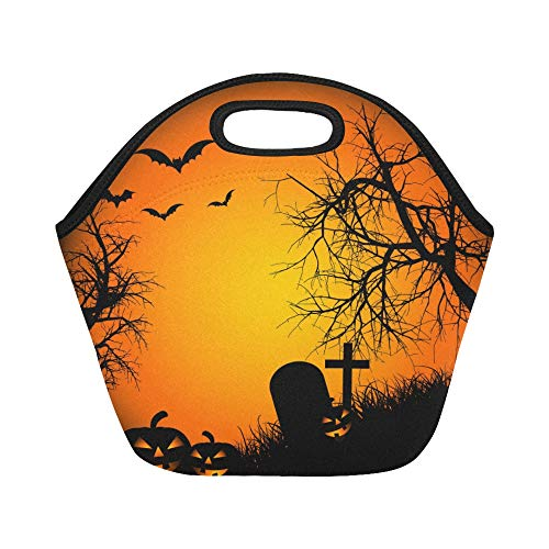 Insulated Neoprene Lunch Bag Halloween Ipad Wallpaper For Ipad Ipad Air R Large Size Reusable Thermal Thick Lunch Tote Bags For Lunch Boxes For Outdoors,work, Office, -