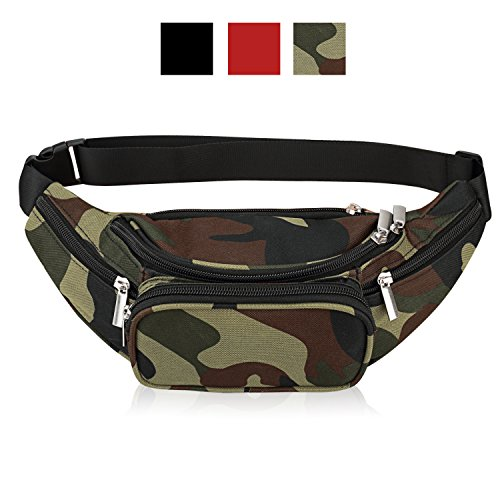 Waist Bag Belt Nylon Multifunctional For Women Men Water Proof Waist Bag pack for Hiking Running Cycling Camping Climbing Travel (Military)