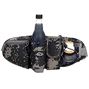 OrrinSports 3-Zipper Nylon Water Resistant Running Waist Bag with Water Bottle Holder (Not Include the Bottle) Camouflage