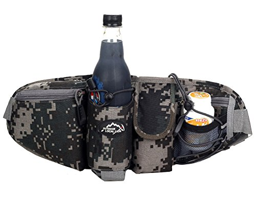 Monster Fanny Pack (OrrinSports 3-Zipper Nylon Water Resistant Running Waist Bag with Water Bottle Holder (Not Include the Bottle) Camouflage)