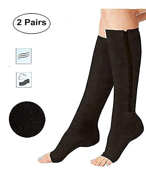 ACTINPUT 2 Pares Calcetines de compresión para Dedo del pie Abierto calcetín de Pierna Apoyo Rodilla
