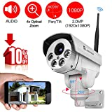 [Audio & Video] Luowice 1080P Wifi PTZ Security Camera with 4X Zoom Night Vision and Built-in 32G SD Card Indoor/Outdoor IP66 Waterproof