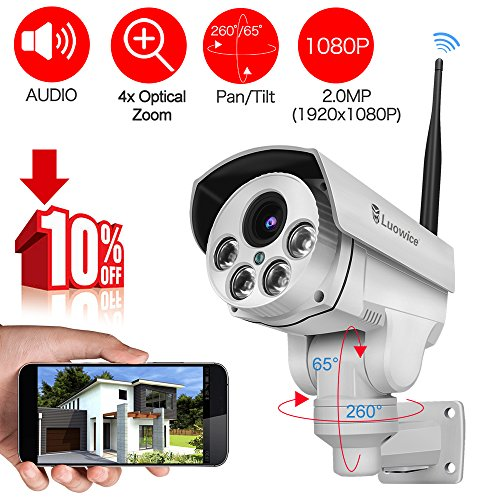 [Audio & Video] Luowice 1080P Wifi PTZ Security Camera with 4X Zoom Night Vision and Built-in 32G SD Card Indoor/Outdoor IP66 Waterproof by Luowice