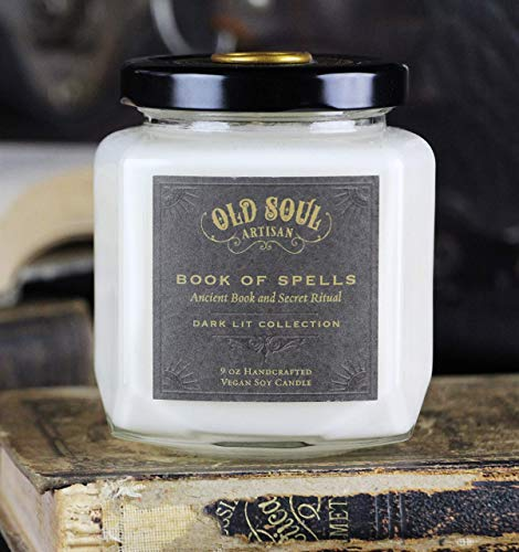 Book of Spells - Old Book Lovers Candle - Spellbook Bookish Bookworm Literature Gift for Readers 9oz ()