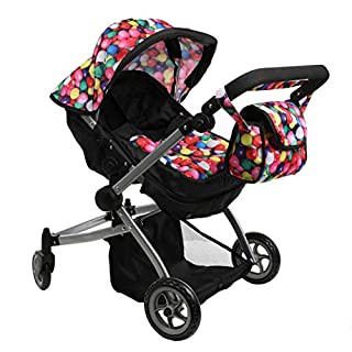 Babyboo Deluxe Twin Doll Pram Foldable Doll Stroller with Convertible Seat, Swiveling Wheels, Adjustable Handle, and Free Carriage Bag, Gumball & Black (Multi Function) - 9651A
