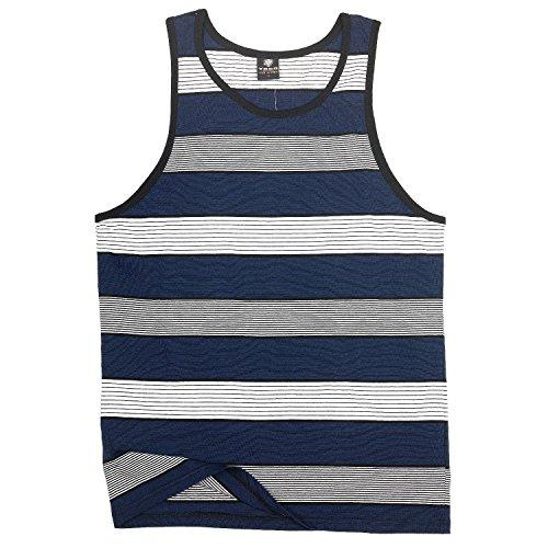 YAGO Men's Striped Tank Top (Blue/White/Grey, (Blue Striped Tank Top Shirt)