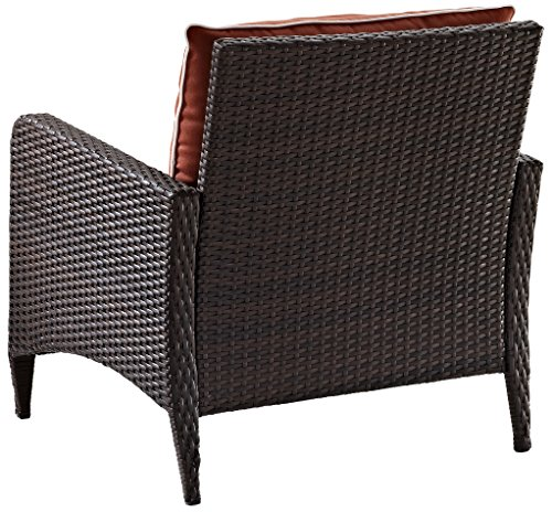 Crosley Furniture Kiawah Outdoor Wicker Arm Chair with Sangria Cushions - Brown - High Quality Reed Style Flat Wicker UV Resistant Outdoor Resin Wicker Durable Steel Frame - patio-furniture, patio-chairs, patio - 51vvNaSTAdL -