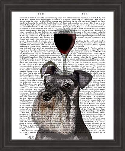 (Dog Au Vin, Schnauzer by Fab Funky Framed Art Print Wall Picture, Traditional Black Frame, 19 x 23 inches)