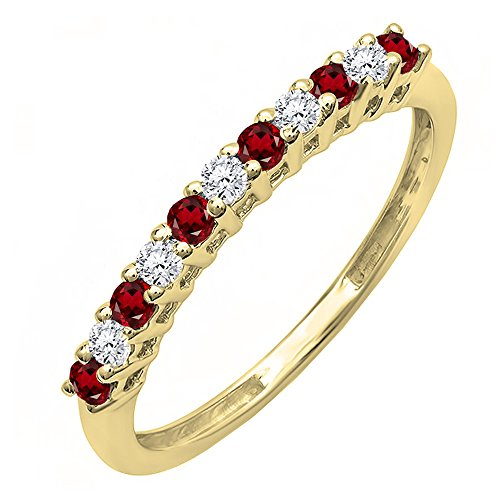 DazzlingRock Collection 10K Yellow Gold Round Garnet & White Diamond Anniversary Stackable Wedding Band (Size 7) - Garnet White Gold Wedding Bands