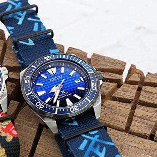 Cinturino MiLTAT 20mm o 22mm G10 Cinturino dell'orologio, cinturino in nylon balistico, monogramma 'Arti marziali', PVDHardware