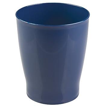 MDesign Wastebasket Trash Can For Bathroom, Kitchen, Office   Navy Blue