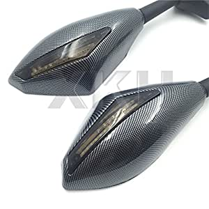 XKH- Carbon Turn Signal Mirrors with Smoke Lens Fit For Suzuki GSXR 600/750 2001-2005 2009-2012/GSXR 1000 2001-2005, 2009-2012/GSXR 1100 1993-1998/ Hayabusa 1999-2012