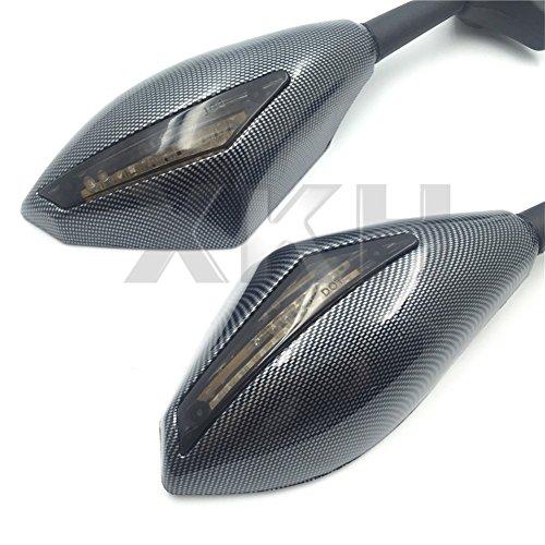 XKH- Carbon Turn Signal Mirrors with Smoke Lens Compatible with Suzuki GSXR 600/750 2001-2005 2009-2012/GSXR 1000 2001-2005, 2009-2012/GSXR 1100 1993-1998/ Hayabusa 1999-2012 [B01KNX9QB2] ()