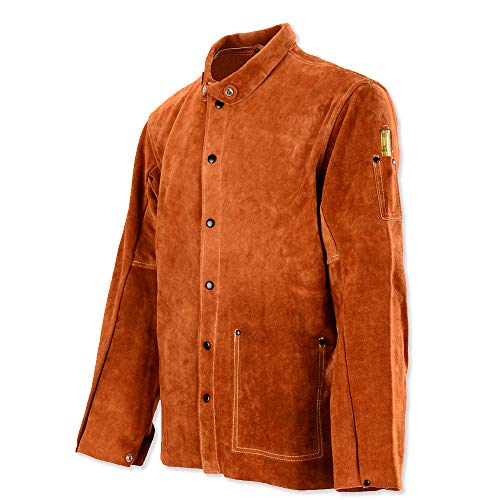 Leather Work Jacket - QeeLink Leather Welding Work Jacket Flame-Resistant Heavy Duty Split Cowhide Leather (XX-Large) Brown