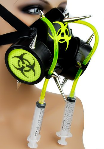[Yellow Tube Syringe Spike Bio Hazard Cosplay Mask] (Well Thought Out Halloween Costumes)
