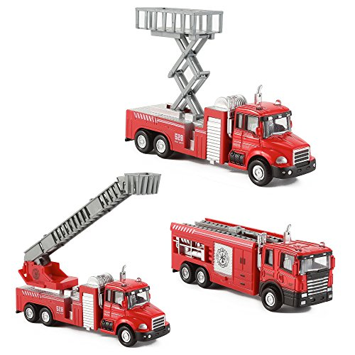 Diecast Fire Truck Engine Pullback Friction Toy 1:32 Scale Emergency Vehicles (Set of 3) (Engine Back Pull)