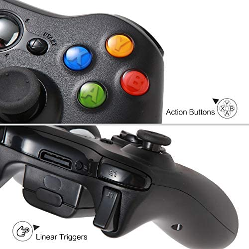 Wireless Controller for Xbox 360, Crifeir Wireless Controller Gamepad Joystick for Xbox 360&360 Slim (Black)