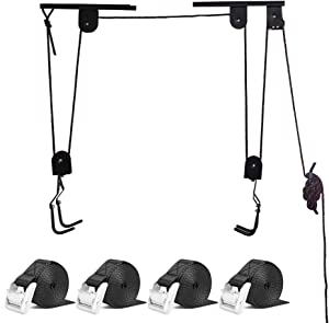ARLTB Bike Lift Hoist & 4 Pieces 4 feet Tie Down Straps, Ceiling Lift up to 50 lbs Lasing Strap up to 770lb -1100 lbs Break Strength, Suitable for Bike, Truck Kayak Boat, Furniture