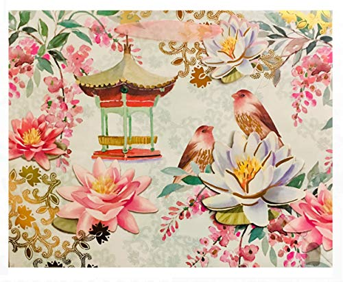 Punch Studio Large Horizontal Gold Foil Gem Embellished 3D Gift Bag with Tag ~ Water Lily Bird 65630