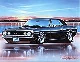 67 black camaro - 1967 Chevy Camaro SS Coupe Muscle Car Art Print Black 11x14 Poster