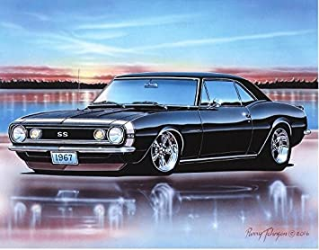 Amazon Com 1967 Chevy Camaro Ss Coupe Muscle Car Art Print Black