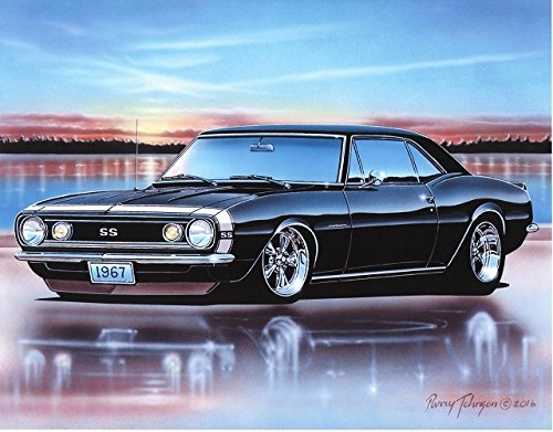 1967 67 Chevy Camaro Ss Coupe Muscle Car Art Print Black Wall Decor