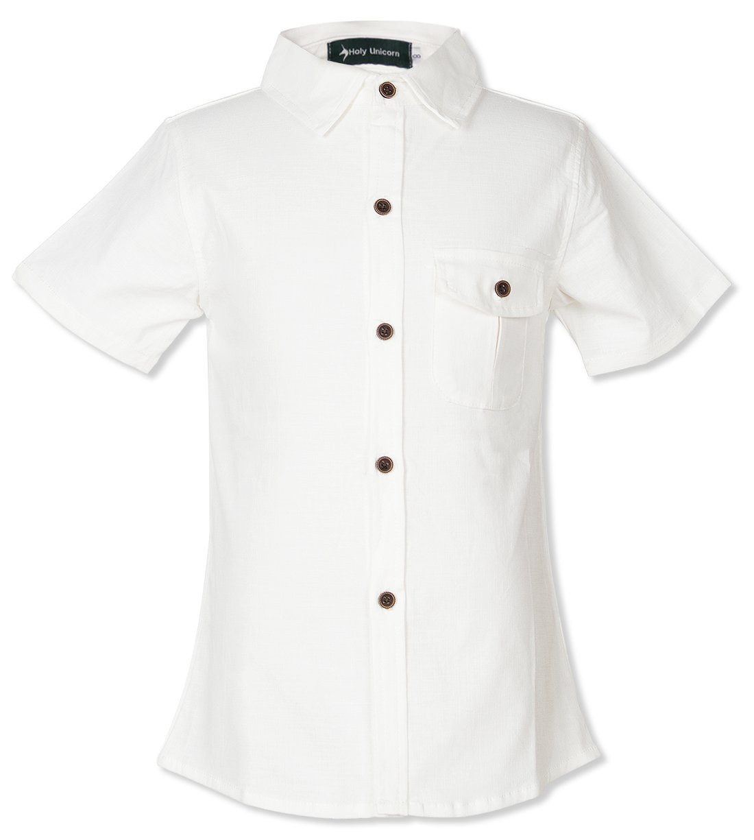 Holy Unicorn Solid Cotton Button Down Shirts For Todder Boys Short Sleeve Size 3-4 Off White
