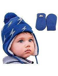 Toddler kids boy warm fall WINTER HAT & Mitten fleece lined (M: 6-24 Months, Hat & Mitten Set: Lightning Bolts)