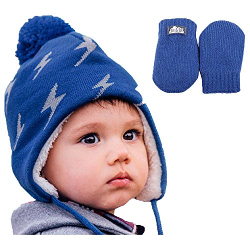 Baby Toddler boy Warm Fall Winter HAT & Mitten Fleece Lined (S: 3-9 Months, Hat & Mitten Set: Lightning Bolts)