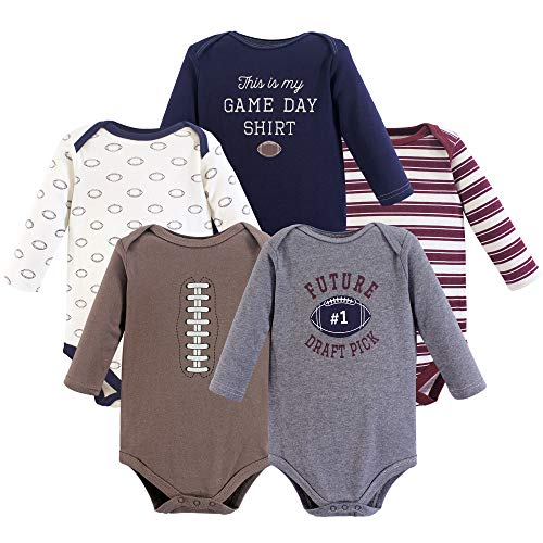 Hudson Baby Baby Long Sleeve Bodysuits, Football Season 5Pk, 3-6 Months (6M)