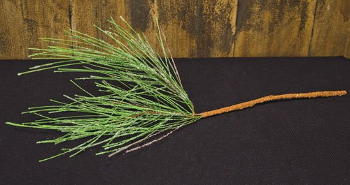 Realistic Long Needle Pine Pick Branch Microbead Ice Dusting Country Primitive Winter Floral ()