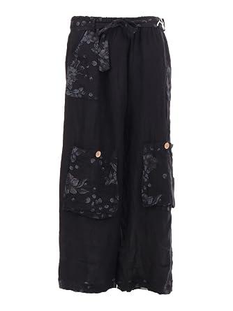 a2dc3246b9d New Italian Ladies Lagenlook 4 Pocket Linen Harem Baggy Trousers Joggers Plus  Size (Black)  Amazon.co.uk  Clothing