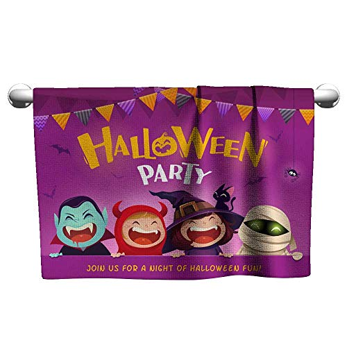 Suchashome Dry Fast Towel Halloween Party Group of Kids in Halloween Costume with Big Signboard Bath Towels Scrub Towel 8 x 24 Inch -