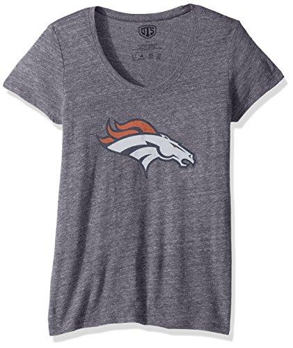 (NFL Denver Broncos Women's Ots Triblend Scoop Distressed Tee, Medium, Light Navy)