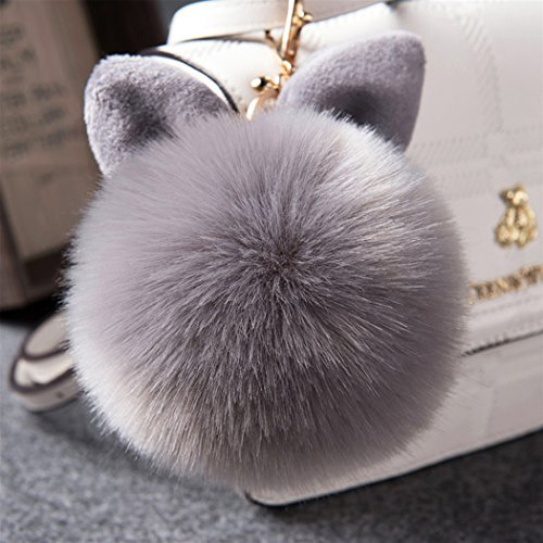 12 cm Rabbit Ears Fur Ball Bag Charms with Golden Keyring Pom Pom, Fluffy Fur Ball Keychain for Car Keyring, Charm Gift (Gray)