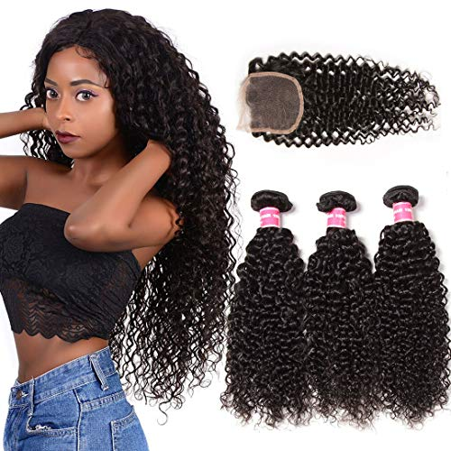Donmily 10A Brazilian Curly Hair with Closure 3 Bundles Curly Hair Weft with Free Part Lace Closure 100% Unprocessed Virgin Human Hair Extensions Natural Color (10 12 14+10 Inch)