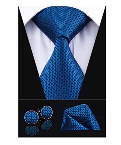 Dubulle Mens Royal Blue Plaid Necktie and Handkerchief Tie with Cufflinks