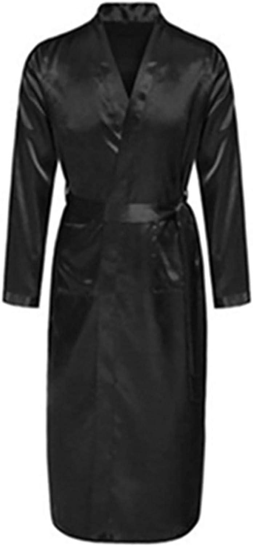 Mens Silk Satin Bathrobe Robe Long Solid Silk Pajamas Men Silk Nightgown Sleepwear Gray