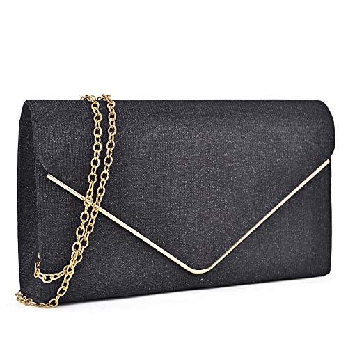 (Women Glistening Clutches Handbags Evening Bags Wedding Purses Cocktail Prom Party Clutches (Black))