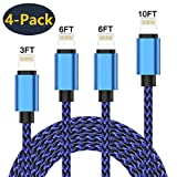 Creddeal Phone Charger Cable 4 Pack [3/6/6/10 FT] Nylon...